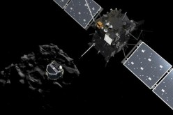 A handout artist impression showing lander Philae separating from the Rosetta spacecraft and descending to the surface of comet 67P