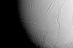 NASA's Cassini spacecraft captured this view as it neared icy Enceladus for its closest-ever dive past the moon's active south polar region.