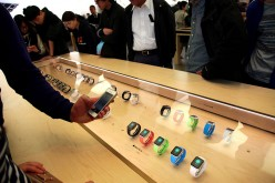 Apple watches are on display at an Apple Store.