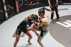 Natalie Gonzales Hills drive her knee into Angela Lee