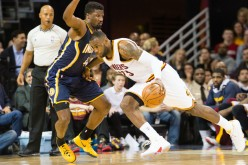 Indiana Pacers small forward Solomon Hill (L) defends against Cleveland Cavaliers' LeBron James during a regular season game in March.