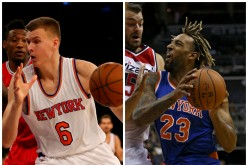 New York Knicks big men Kristaps Porzingis (L) and Derrick Williams.