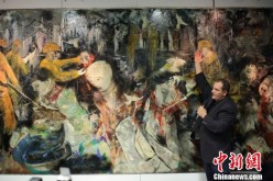 Christian Poirot pays homage to the Nanjing Massacre with his painting,