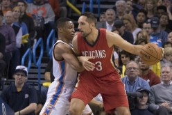 New Orleans Pelicans power forward Ryan Anderson posts up against Oklahoma City Thunder's Russell Westbrook.