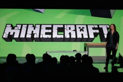 Mojang's 'Director of Fun' Lydia Winters speaks about 'Minecraft' during the Microsoft Xbox E3 press conference at the Galen Center on June 15, 2015 in Los Angeles, California.