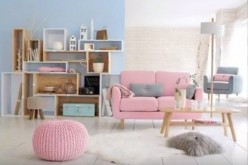 A modern home is awash with the fresh pastel shades of rose quartz and Serenity.