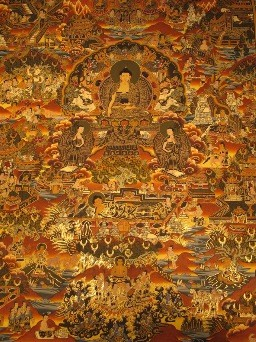 The Thangka paintings, depicting Buddhist folktales, are the source of inspiration for the Lamamani artists, or talking-singing storytellers of Tibet.