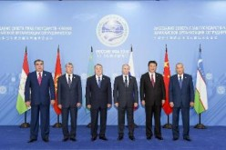 President Xi Jinping poses for a picture with other members of the Shanghai Cooperation Organization (SCO) in July 2015.