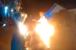 A Colombian man burned Pia Alonzo Wurtzbach's effigy on New Year's Eve in Baranquilla, Colombia.