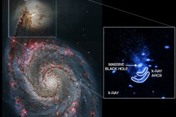 Powerful X-ray emissions were observed by NASA's Chandra X-ray Observatory from a supermassive black hole