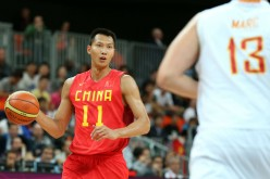 Guangdong Southern Tigers power forward Yi Jianlian (L) playing for the China national team in this file photo.