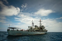A Chinese Coast Guard ship is seen in the middle of South China Sea near Kuantan, Malaysia, on March 15, 2014.