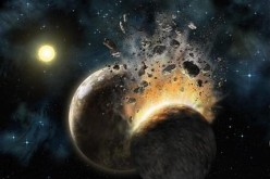 An artist's rendering of what the environment around Pleiades star HD 23514 might look like as two planets collide.