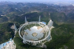 Aerial view of the Five Hundred-Meter Aperture Spherical Telescope under construction in Guizhou Province, China.