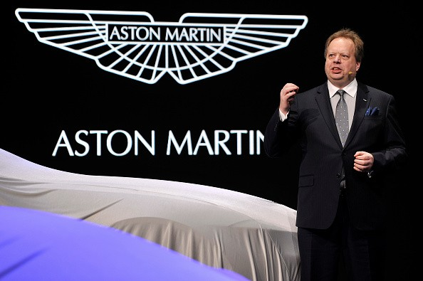 Aston Martin CEO Andy Palmer speaks during the 85th International Motor Show in Geneva, Switzerland, on March 3, 2015.