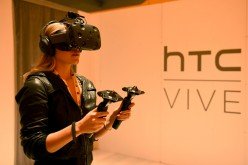 A view of HTC Vive during Advertising Week 2015 AWXII at the ADARA Stage at Times Center Hall on Oct. 1, 2015 in New York City.