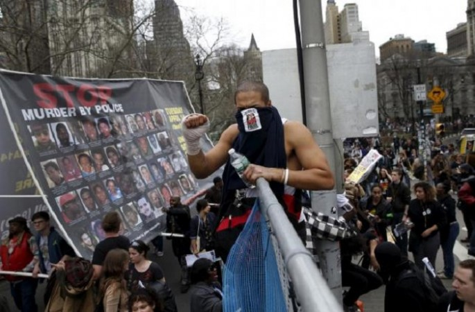Demonstrators protest against police-inflicted violence in New York in April 2015.