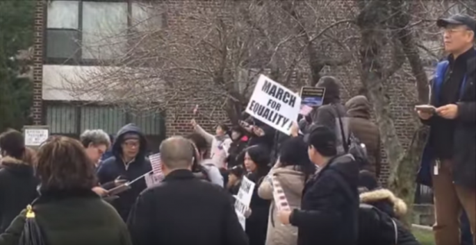 Thousands of Chinese Americans attended the Brooklyn protest march on Feb. 20 to show support for Peter Liang's cause.