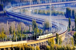 File photo taken on Nov. 3, 2015 shows a bullet train running through a bridge on the Lanzhou-Xinjiang high-speed railway, Northwest China's Xinjiang Uyghur Autonomous Region.