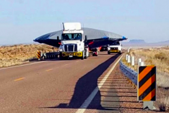 A witness claims recently to have come across a truck carrying what seems to be a flying saucer near the vicinity of Area 51.