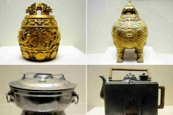 Combination photo taken on March 13, 2016 shows royal goldware and silverware on display at the Shenyang Palace Museum in Shenyang, Northeast China's Liaoning Province.