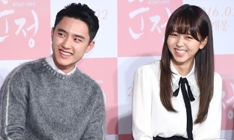"Exo's D.O and actress Kim So Hyun attend a recent press conference for ""Pure Love"" at the Lotte Cinema in Seoul, Korea."