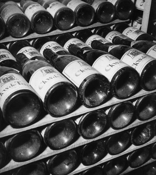 Part of the fine selection of wines in the Ritz cellar which includes a supply of the best French vintages.
