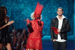 Lady Gaga accepts the award for Best New Artist from Eminem during the 2009 MTV Video Music Awards at Radio City Music Hall in New York City.