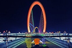 10. NANJING. A night view of the pedestrian bridge, known to locals as the