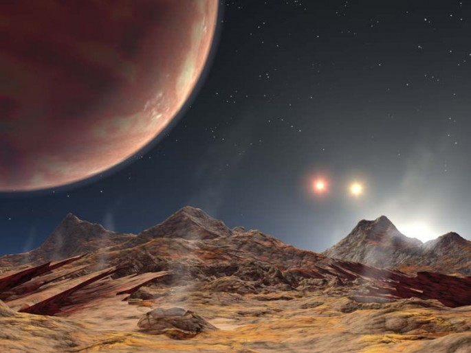 The artist's animation shows the view from a hypothetical moon in orbit around the first known planet, HD 188753 Ab, to reside in a classic triple-star system.