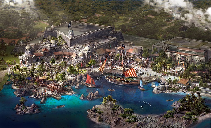 "An artist's rendition of the Treasure Cove, ""the first pirate-themed land in a Disney park."""