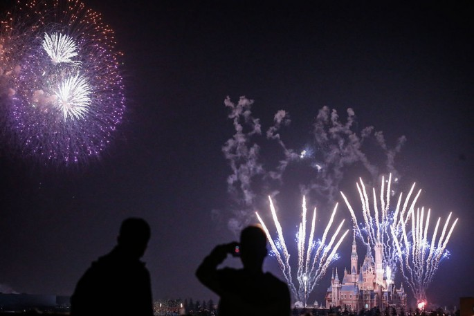 Fireworks explode over Shanghai Disneyland park on March 28, 2016 in Shanghai, China.