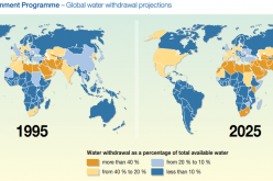 A map showing projected water consumption levels by 2025. A new study revealed that China could potentially face a water shortage crisis by 2050 if such trends continue.