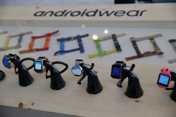 Google Android Wear smart watches are displayed during the 2015 Google I/O conference.