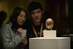One of the famous Easter eggs from the Fabergé collections is on display at the Palace Museum in Beijing, April 15, 2016.