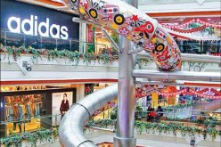 An undated photo shows the five-storey slide in the New World Department Store mall in Shanghai's Pudong district.
