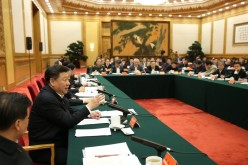 Chinese President Xi Jinping during a meeting with senior officials and representatives of China's Internet industry.