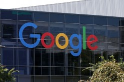 The Google logo is displayed at the Google headquarters in Mountain View, California.