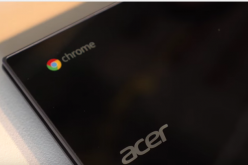 An Acer Chromebook with the Google Chrome and Acer logos shown on its display panel.