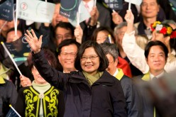 President-elect Tsai Ing-wen waves at supporters at DPP headquarters on Jan. 16, 2016 in Taipei, Taiwan.