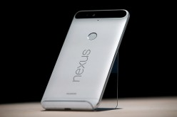 The new Nexus 6P phone is displayed during a Google media event on Sept. 29, 2015 in San Francisco, California.