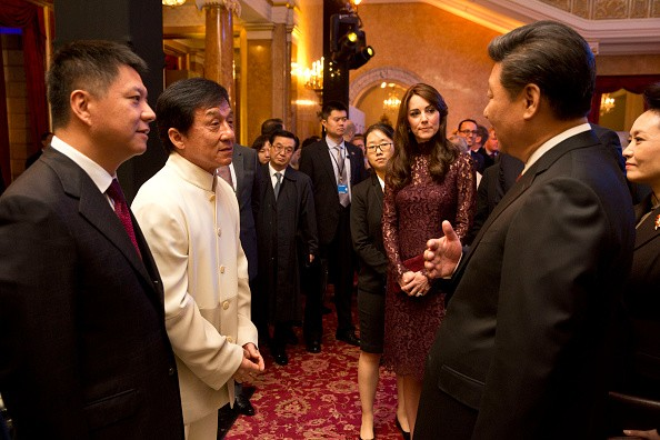 Catherine, Duchess of Cambridge, Chinese President Xi Jinping and his wife, Madame Peng Liyuan talk with Kung-Fu star Jackie Chan as they attend a 'Creative Collaborations: UK & China' event at Lancaster House on Oct. 21, 2015 in London, England.