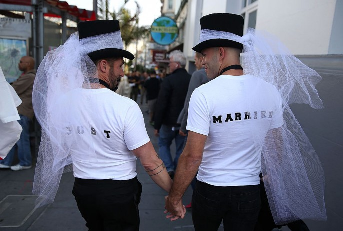 Same-sex marriage supporters celebrate the U.S Supreme Court ruling regarding same-sex marriage on June 26, 2015 in San Francisco, California.