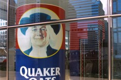 A huge Quaker Oats box is displayed at the company's headquarters in Chicago on Dec. 4, 2000.